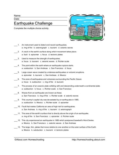 Worksheets On Earthquakes by Earthquake Worksheets Lesupercoin Printables Worksheets