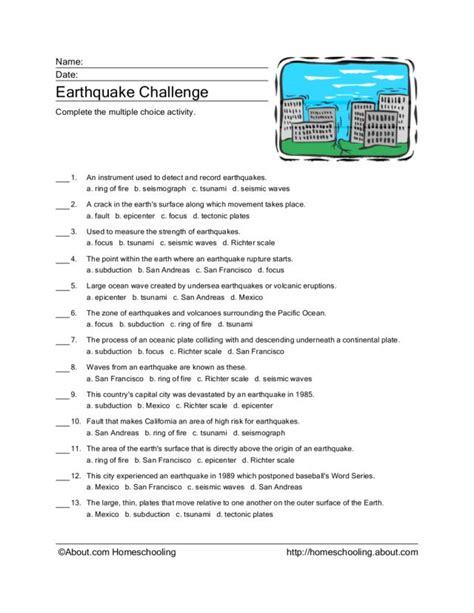 earthquake worksheets earthquake worksheets lesupercoin printables worksheets