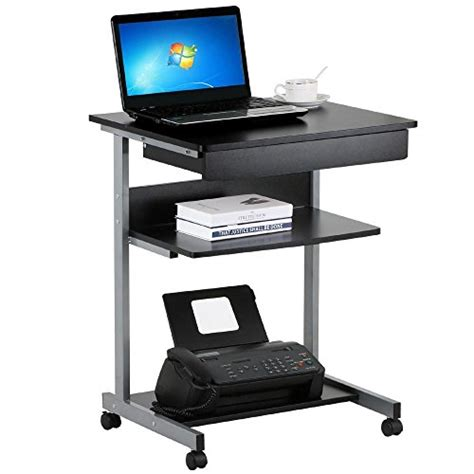 Small Computer Desk On Wheels Topeakmart Black Wood Small Laptop Computer Cart Desk With Drawers And Printer Shelf On Wheels