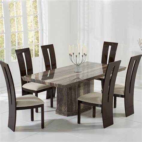 como 2m 7 marble dining table set brown or black