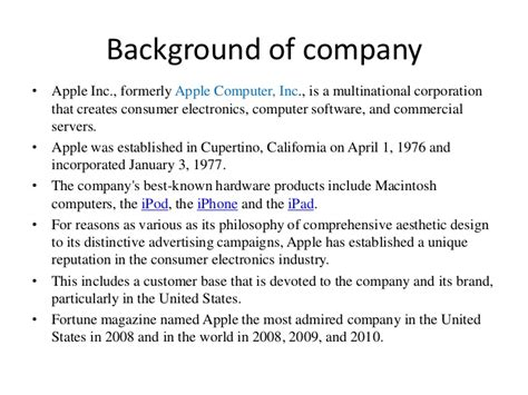 apple background of company