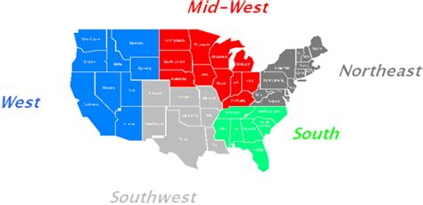 united states map divided into 5 regions us map 5 regions