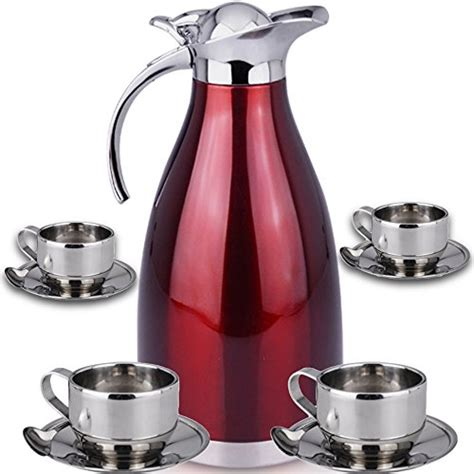 Save 40%!   Thermal Carafe Plus Coffee Tea Mugs by Chefcoo? Includes Pitcher, 4 Mugs Saucers and