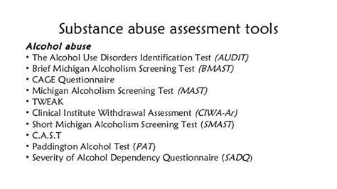 Telephone Screening For Substance Abuse Detox by Substance Abuse Assessment
