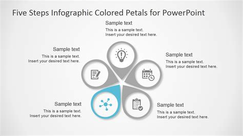 Five Steps Infographic Colored Petals Free Powerpoint Diagram Slidemodel Free Infographic Templates Powerpoint