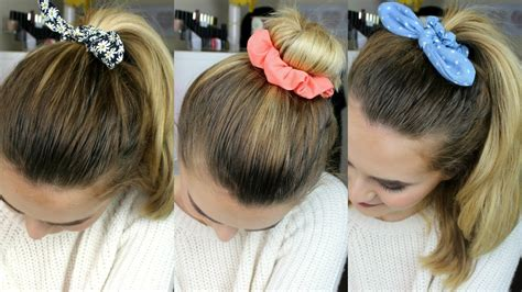 hairstyles using hair ties 3 quick easy hairstyles using scrunchies jamie