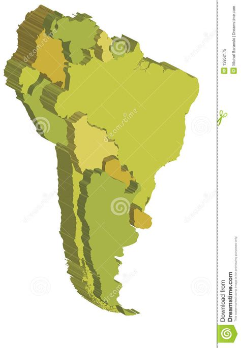 south america map free south america 3d map stock illustration image of country