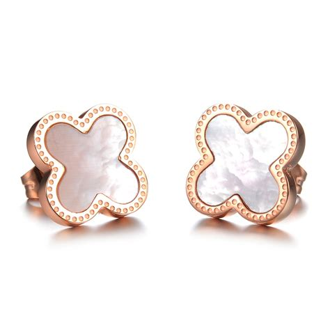 Women's Four Leaf Lucky Clover Rose Gold Plated Stud
