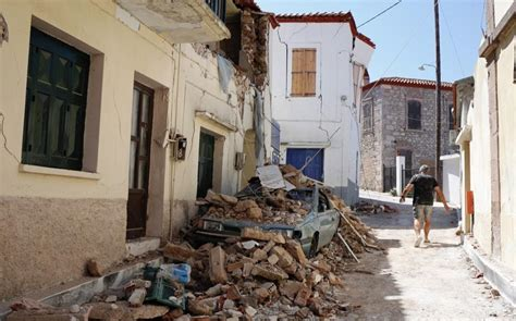 earthquake house drive to house quake victims assess damage on lesvos