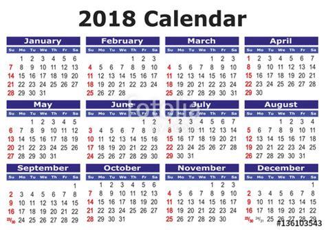 Calendã 2018 Comprar Quot Simple Vector Calendar 2018 Horizontal 2018 Calendar
