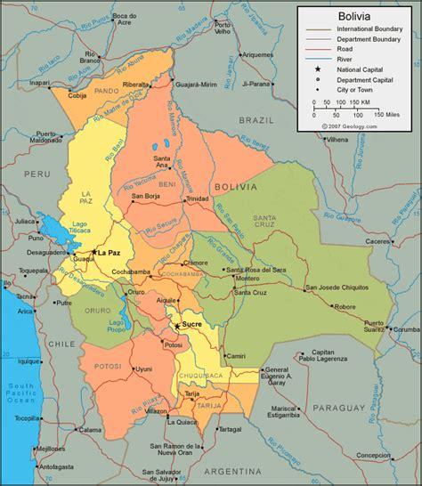 bolivia political map bolivia map and satellite image