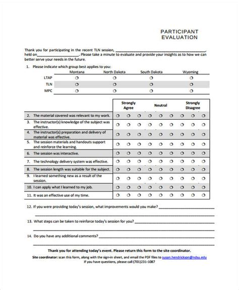 32 Free Event Evaluation Form Participant Evaluation Form Templates