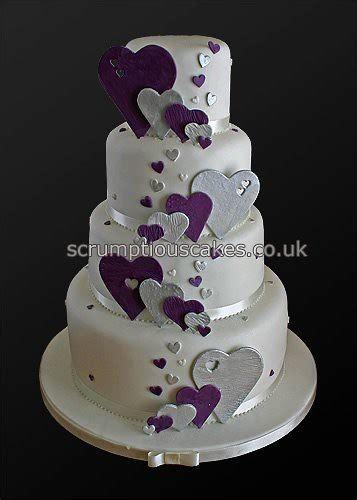 wedding cake  purple silver hearts paula jane