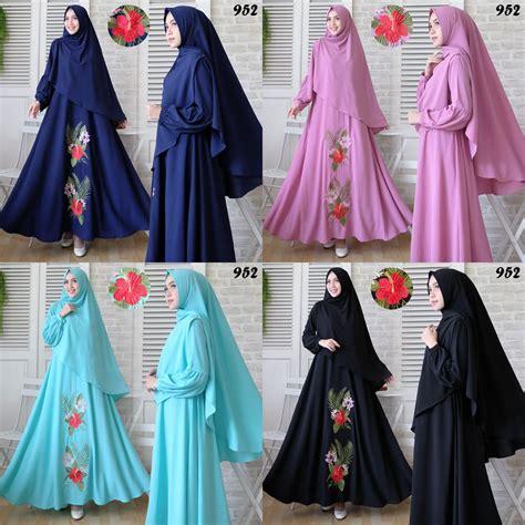 gamis syari bubblepop bordir 952 baju muslim murah