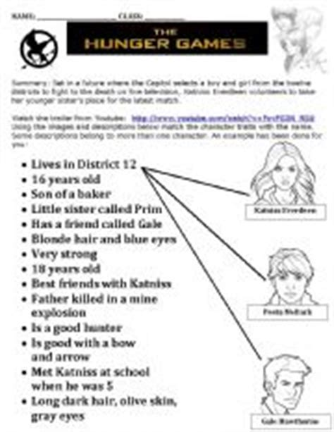 the hunger games themes worksheet answers english worksheet hunger games matching task