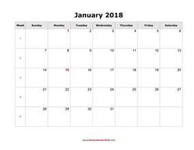 Calendar 2018 Blank Blank Calendar For January 2018