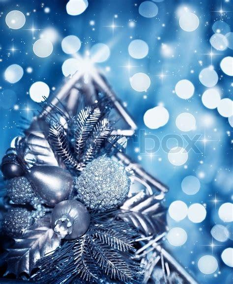 beautiful silver christmas tree decoration blue shiny