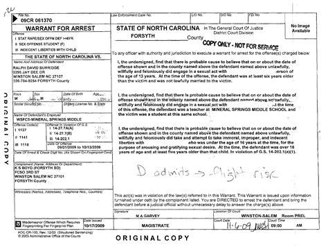 Carolina Arrest Warrant Search Ralph David Surridge Winston Salem Carolina