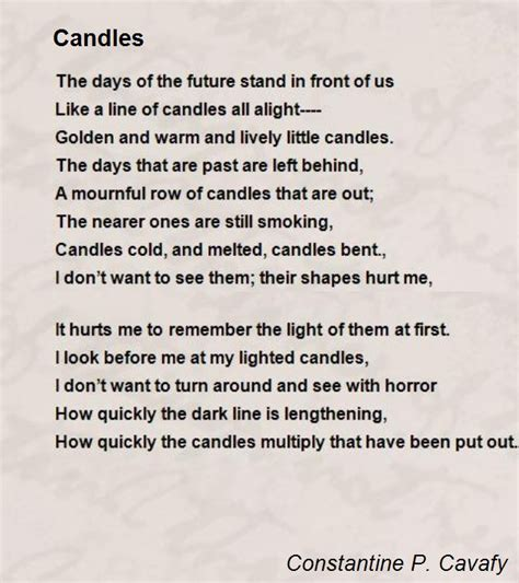 kavafis candele candles poem by constantine p cavafy poem comments