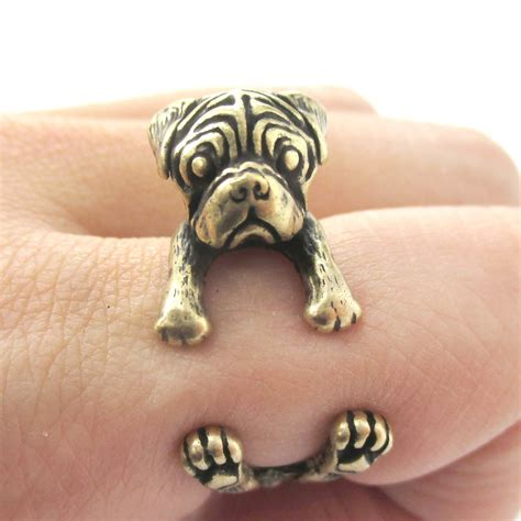 pug ring pug animal ring wrapped around your finger in brass sizes 4 8 5 on luulla