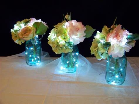 backyard wedding centerpiece ideas fairy lighted table centerpieces i made 16 of these for an outdoor wedding walkway