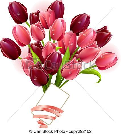 Bunch Of Flowers In A Vase Vector Illustration Of Bunch Of Tulips And Small Card