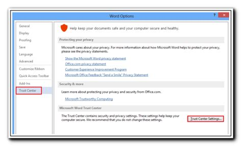 Office 365 Trust Center Privacy Options In Microsoft Office Suite