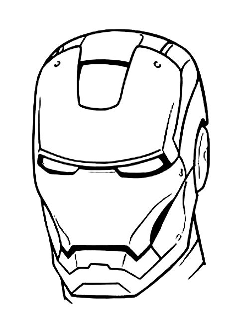 Iron Man Mask Coloring Pages For Kids Printable Free Iron Black And White Coloring Pages