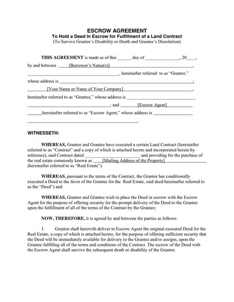 escrow agreement template escrow agreement in word and pdf formats