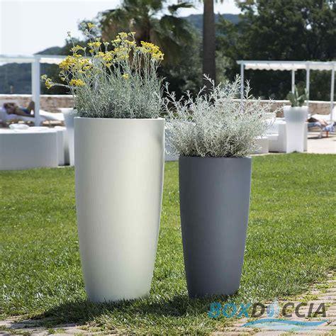 vaso giardino vaso resina alto moderno tondo plastica pianta giardino
