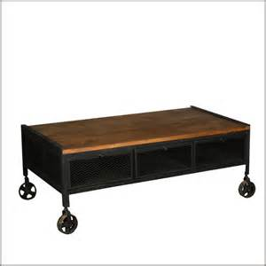 rolling coffee table industrial mango wood iron rolling coffee table w