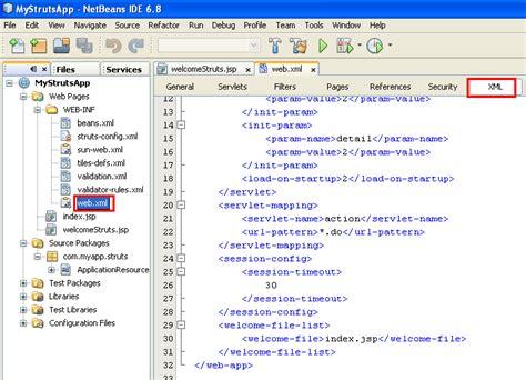 url pattern in web xml for struts2 netbeans with struts framework project the web xml file