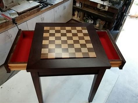 modern chess table crafted custom wood chess table with drawers