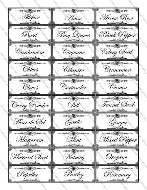 4 Best Images Of Spice And Herb Labels Printable Free Spice Labels Printable Free Printable Spice Jar Label Template Free
