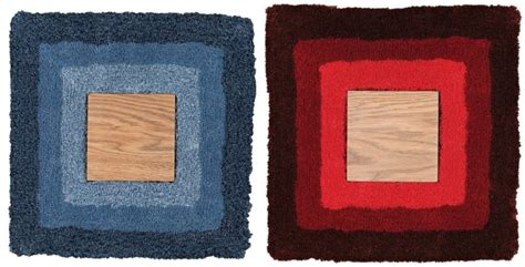 woody wood rug this handmade rug features a wooden panel in the center for both form and function luxurylaunches