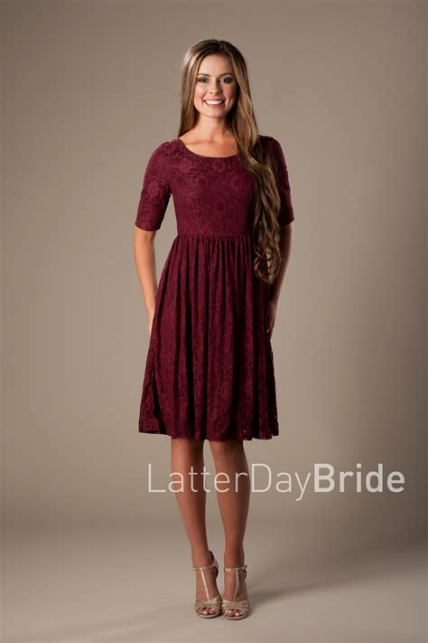 modest clothing mds1615 burgundy - Modest Dresses