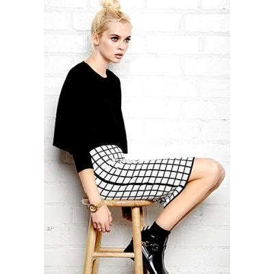 Wst 16578 Grid Front Button Skirt forever 21 mod grid pencil skirt where to buy how to wear