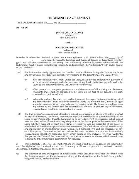indemnity agreement template canada commercial lease indemnity agreement forms
