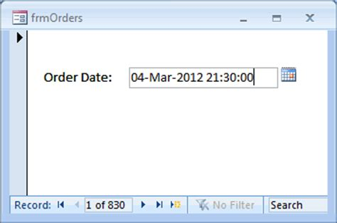 date format in php form ms access 2007 define a custom format for a date time