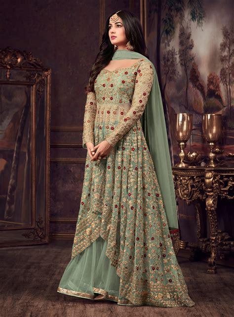 sonal chauhan lehenga buy sonal chauhan green net wedding lehenga kameez in uk
