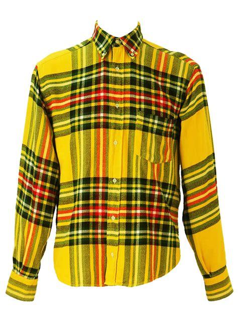 pattern bright yellow shirt bright yellow tartan check flannel shirt l reign vintage