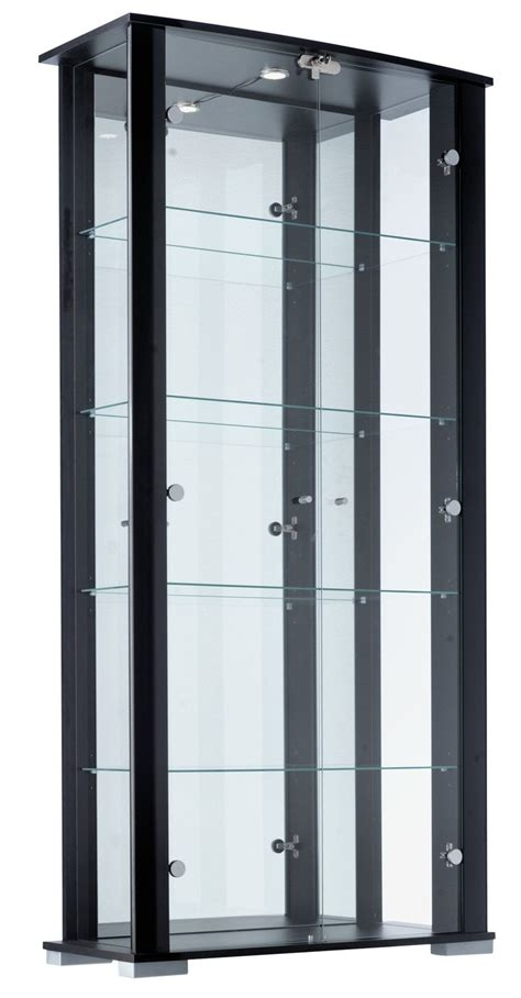black cabinet with glass doors home stella 2 glass door display cabinet black gloss