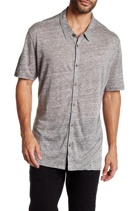 mens knit button shirt varvatos sleeve button front linen jersey knit