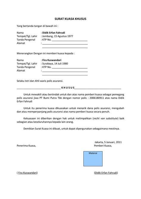 surat kuasa contoh surat indonesia