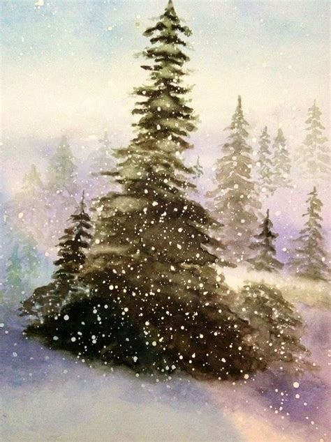 watercolor trees snow winter pinterest watercolour