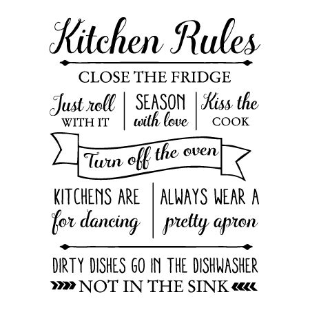 Black White And Gold Home Decor by Kitchen Rules Wall Quotes Decal Wallquotes Com