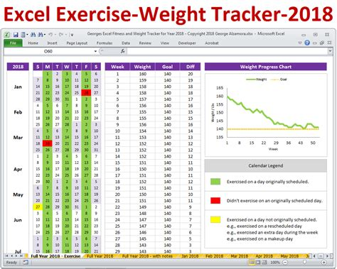 Weight Loss Excel Spreadsheet by Excel Fitness Tracker And Weight Tracker For Year 2018