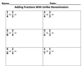 adding fractions with unlike denominators 5 nbt a 1 1