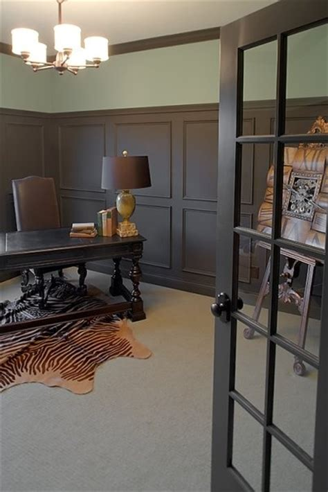 Office Wainscoting Ideas chocolate brown wainscoting in office www decorchick diy home decor