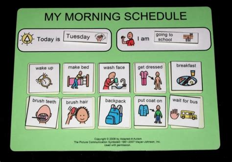 printable daily schedule for autistic child autismright visuals